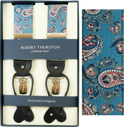 ALBERT THURSTON アルバートサーストン サスペンダー メンズ Y型 2WAY ブルー ペイズリープリント柄【英国製】 サーストン ブランド アルバート・サーストン 2571-1 【送料無料】