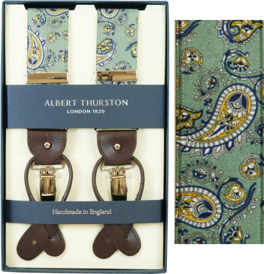 ALBERT THURSTON アルバートサーストン サスペンダー メンズ Y型 2WAY グリーン ペイズリープリント柄【英国製】 サーストン ブランド アルバート・サーストン 2571-2 【送料無料】