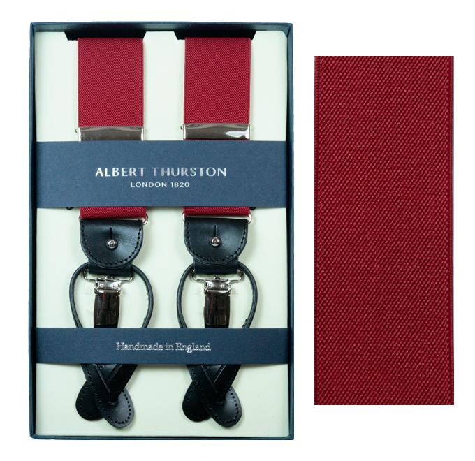 ALBERT THURSTON アルバートサーストン サスペンダー メンズ Y型 2WAY 赤 ディープレッド レッド 英国製 サーストン ブランド アルバート・サーストン ブレイシス ブレイシーズ 紳士 男 男性用 DEEPRED 送料無料