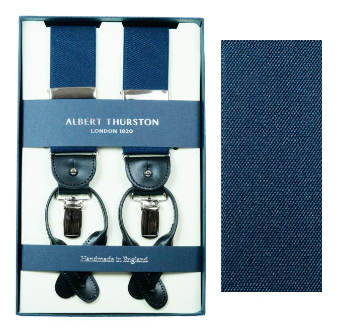 ALBERT THURSTON アルバートサーストン サスペンダー メンズ Y型 2WAY ネイビー ネービー 紺色 無地 英国製 サーストン ブランド アルバート・サーストン ブレイシス ブレイシーズ 紳士 男 男性用 H-NAVY 送料無料