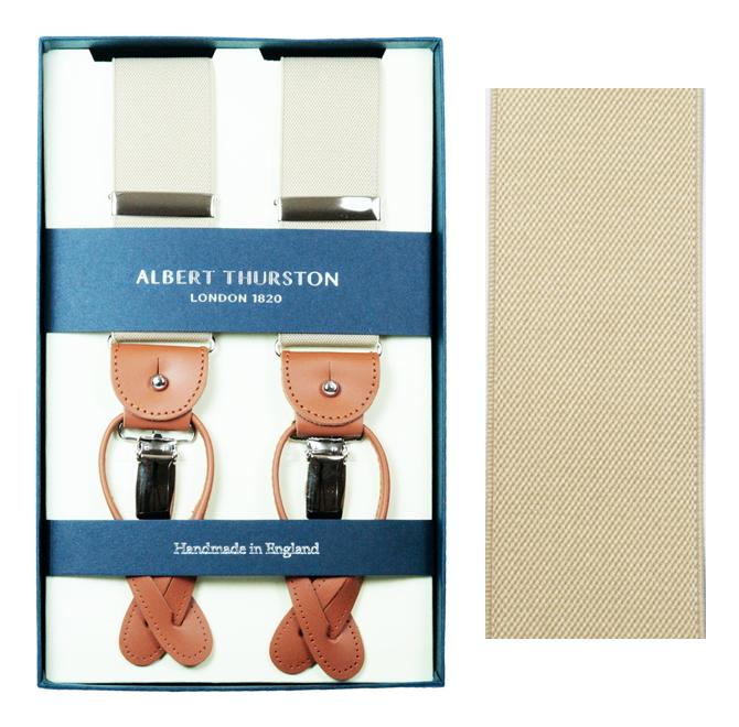 ALBERT THURSTON アルバートサーストン サスペンダー メンズ Y型 2WAY ベージュ 無地 英国製 サーストン ブランド ブレイシス ブレイシーズ アルバート・サーストン ズボン吊り 紳士 男 男性用 L-BEIGE 送料無料