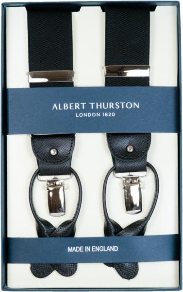 サスペンダー メンズ ALBERT THURSTON アルバートサーストン Y型 2WAY 黒 ブラック 無地 プレーン 英国製 サーストン ブランド アルバート・サーストン ブレイシス ブレイシーズ 紳士 男 男性用 o-black(Mサイズ) 送料無料