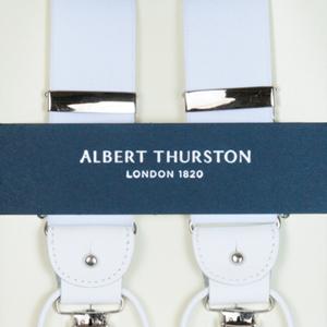 ALBERT THURSTON アルバートサーストン サスペンダー メンズ Y型 2WAY 白 ホワイト【英国製】 サーストン ブランド アルバート・サーストン ブレイシーズ r-white【送料無料】