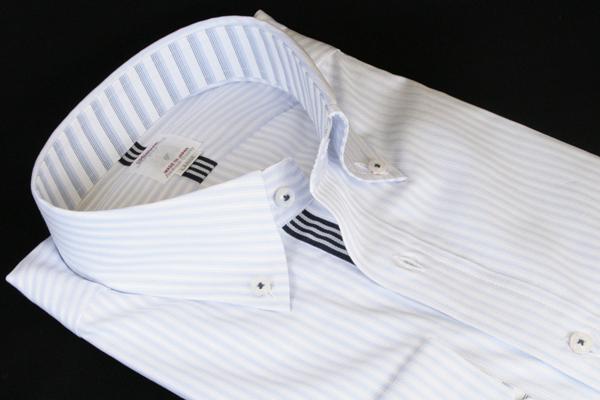 ドレスシャツ | メンズ Mサイズ FATTURA ファットゥーラ ブランド ボタンダウン ボタンダウンカラー シャツ 長袖 ブルー ストライプ 日本製 綿 綿100 ワイシャツ Yシャツ 39 M ビジネス 男性 おしゃれ おすすめ 着こなし コーデ 通販 送料無料 12409