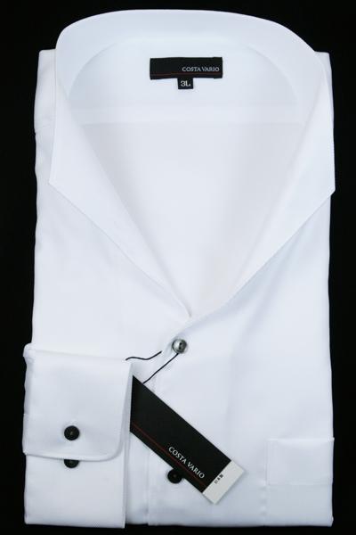 イタリアンカラーシャツ メンズ | スタンドカラー シャツ COSTA VARIO 長袖 白 ホワイト カルゼ 織柄 日本製 大きいサイズ ワイシャツ ビジネス 襟 イタリアンカラー ドレスシャツ ノータイ ノーネクタイ おしゃれ 色 柄 コーデ おすすめ 通販 3L 4L 5L 送料無料 GTD033-003