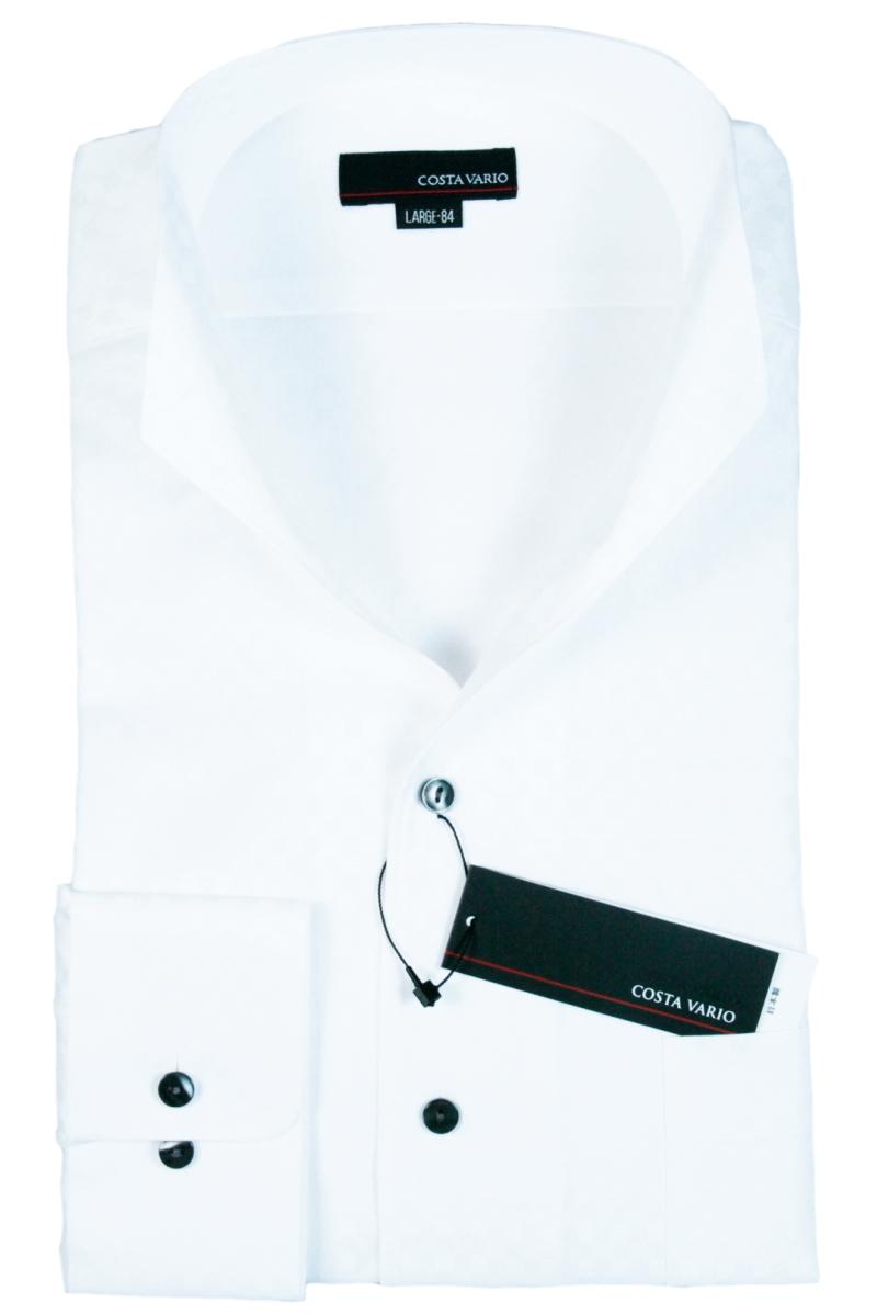 イタリアンカラーシャツ メンズ | スタンドカラー シャツ COSTA VARIO 長袖 白 ホワイト 綿100 ミニブロック 織柄 日本製 ワイシャツ ビジネス 襟 イタリアンカラー ドレスシャツ ノータイ ノーネクタイ おしゃれ 色 柄 着こなし コーデ おすすめ 通販 送料無料 uwd004-201