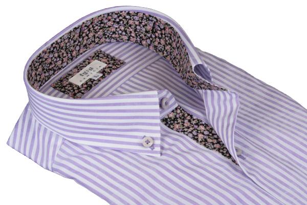 Mサイズ ボタンダウンシャツ 長袖 ショートポイントカラー 日本製 fy:g (ヒューグ) パープル ストライプ柄 綿100 シャツ ワイシャツ ドレスシャツ メンズ 紳士 男 男性用 送料無料 GHD902-460