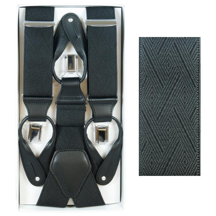 サスペンダー メンズ | Taniwatari タニワタリ ブランド 日本製 Y型 2way ブラック 黒 35mm ダイヤ幾何学模様 織柄 スーツ パンツ スラックス 金具 クリップ留め ボタン留め ズボン吊り 送料無料 TW41-7