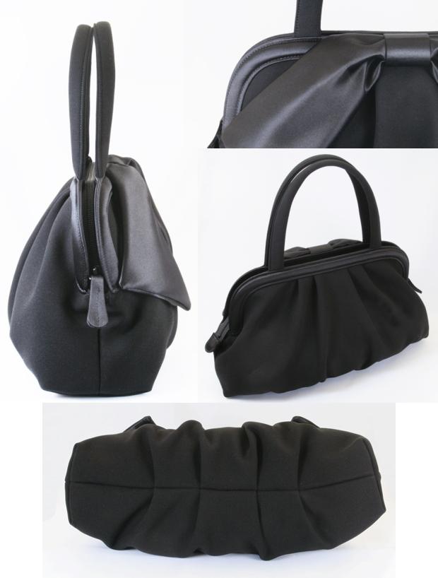 7acc08f43767 【送料無料】ブラックフォーマルソフトバッグ黒大きなサテンリボン付きしっかりした作り