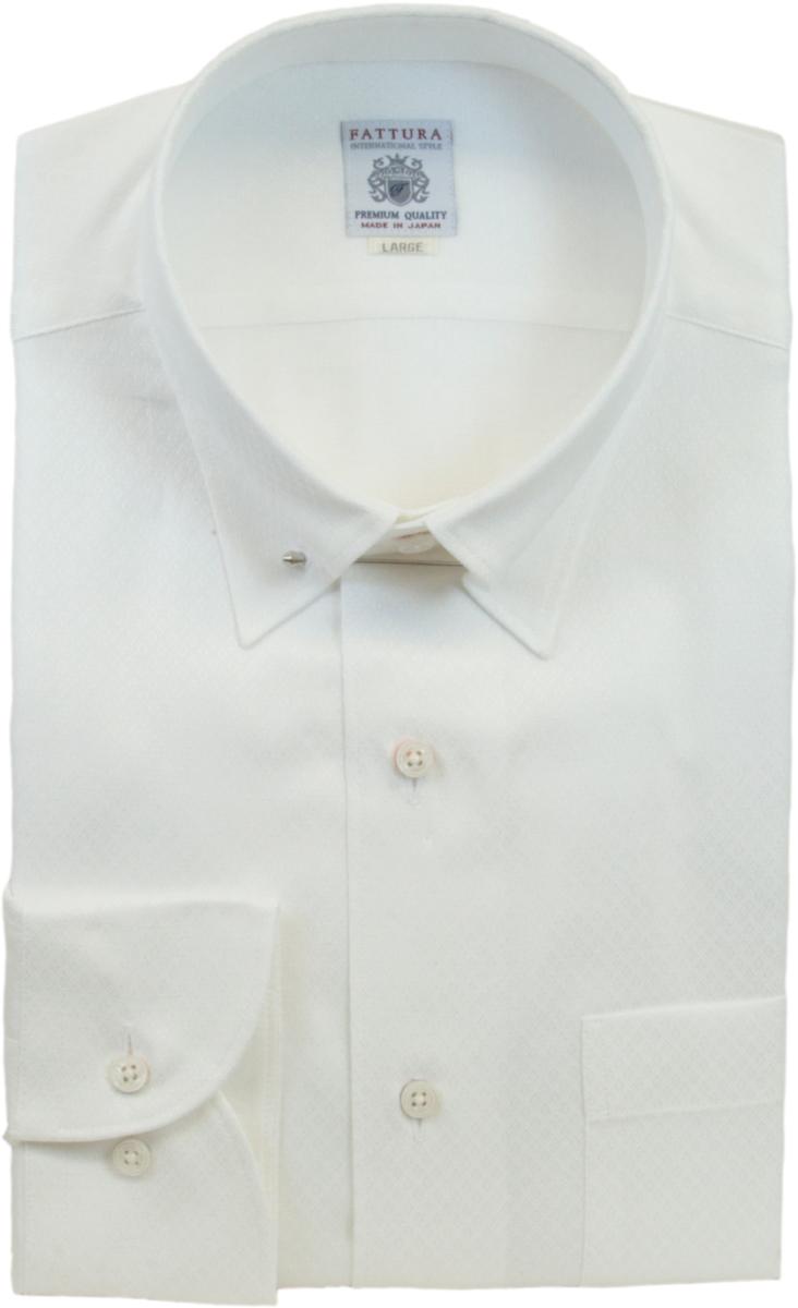 ピンホールカラー シャツ | メンズ FATTURA ファットゥーラ ブランド 長袖 白 ダイヤ柄 綿 綿100 80双糸 日本製 ピンホール ワイシャツ Yシャツ ホワイト 襟 ピン 39 41 43 フォーマル ビジネス 男性 結婚式 おしゃれ 着こなし おすすめ コーデ 通販 送料無料 98602