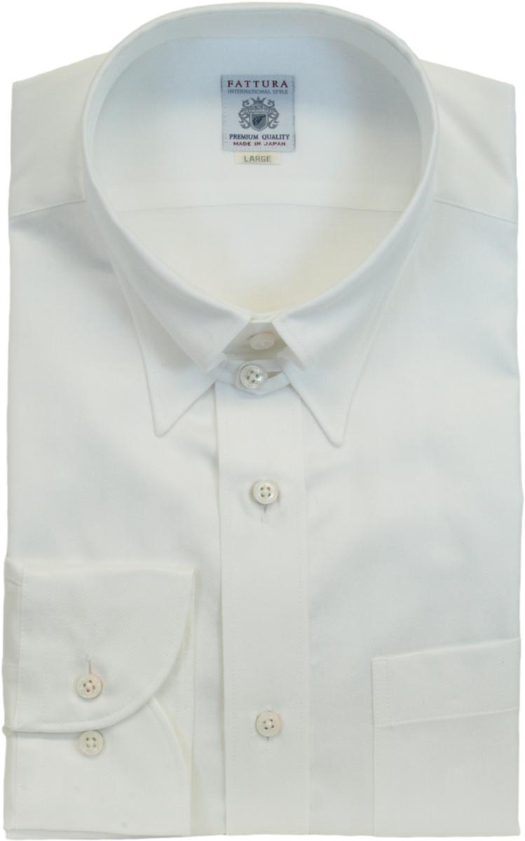 タブカラー シャツ | メンズ FATTURA ファットゥーラ ブランド 長袖 白 ドビー柄 綿 綿100 80双糸 日本製 タブカラー ワイシャツ Yシャツ ホワイト 襟 39 41 43 45フォーマル ビジネス 男性 結婚式 おしゃれ 着こなし おすすめ コーデ 通販 送料無料 98608