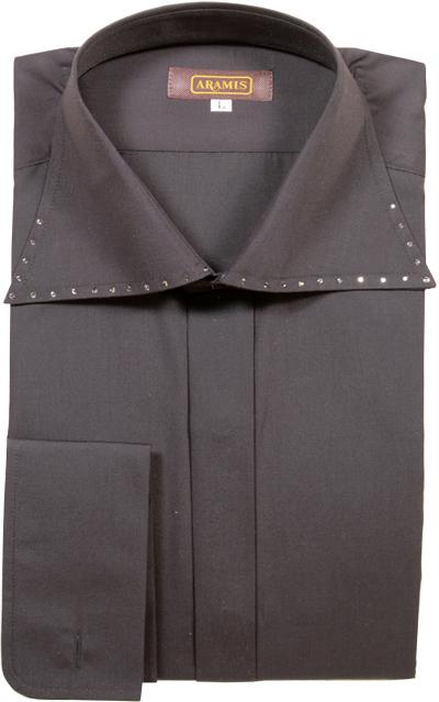 【のだめカンタービレに衣装提供】 ARAMIS ドレスシャツ ワイドカラー スワロフスキー 黒 ブラック 日本製 シャツ ワイシャツ 結婚式 新郎 衣裳 衣装 フォーマル メンズ 紳士 男 男性用 【送料無料】 ar101