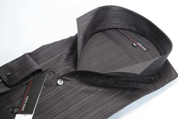 イタリアンカラーシャツ メンズ | スタンドカラーシャツ COSTA VARIO 長袖 黒 ストライプ ラメ 日本製 大きいサイズ ワイシャツ ビジネス 襟 イタリアンカラー スタンドカラー シャツ ドレスシャツ おしゃれ 色 柄 着こなし コーデ 通販 LL 2L 3L 4L 5L 送料無料 GTD033-002