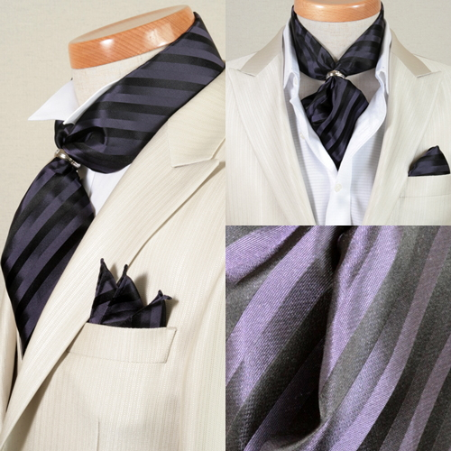 ST010 with 100 ascot tie ☆ bluish violet stripe pattern ☆ silk %☆ pocket handkerchief & rings