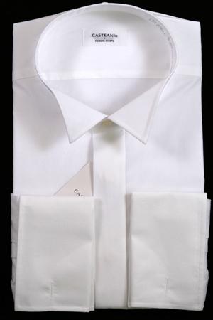 ウイングカラーシャツ ダブルカフス フライフロント 比翼 綿100% ウィングカラーシャツ スリムフィットモデル TOL912 ウイングシャツ ワイシャツ ドレスシャツ 結婚式 フォーマル メンズ