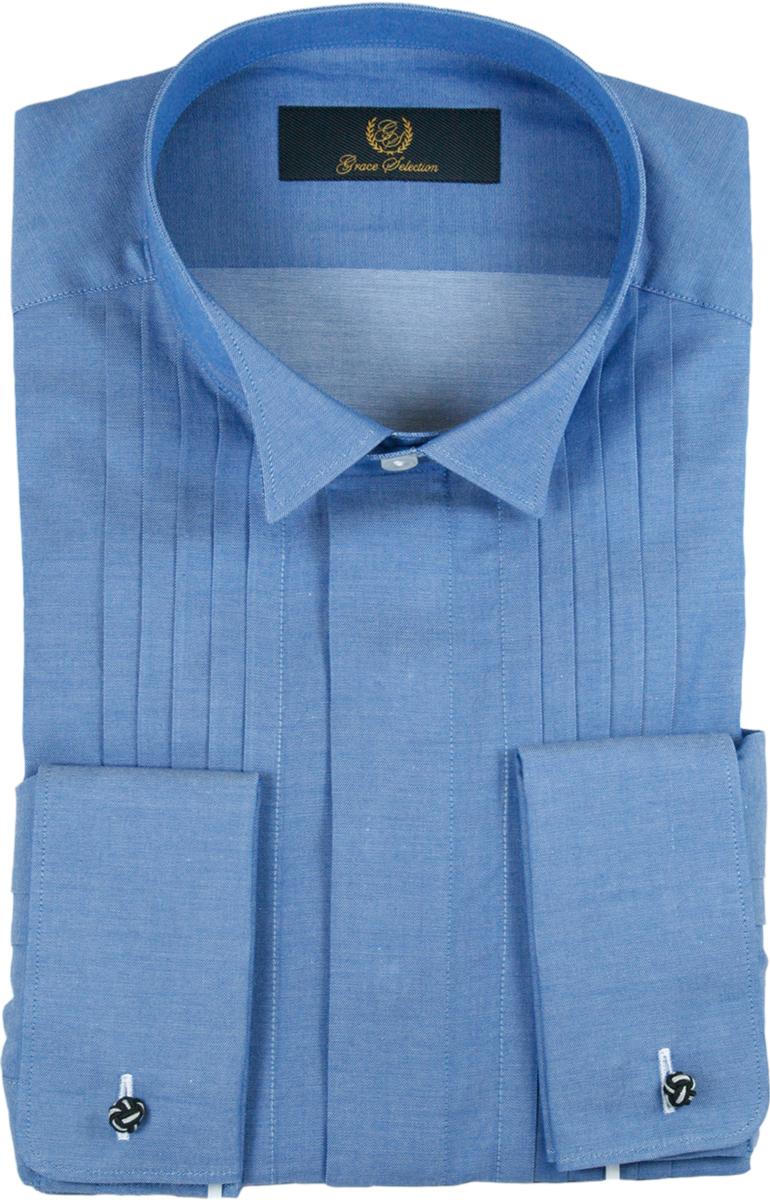 ウイングカラーシャツ | メンズ 青 ブルー 綿100% プリーツ ピンタック カフスボタン カフス付き ダブルカフス フライフロント 比翼 ウイングカラー ウィングカラー ウイングシャツ シャツ ワイシャツ カフス フォーマル タキシード 結婚式 パーティー おしゃれ YRD100-254