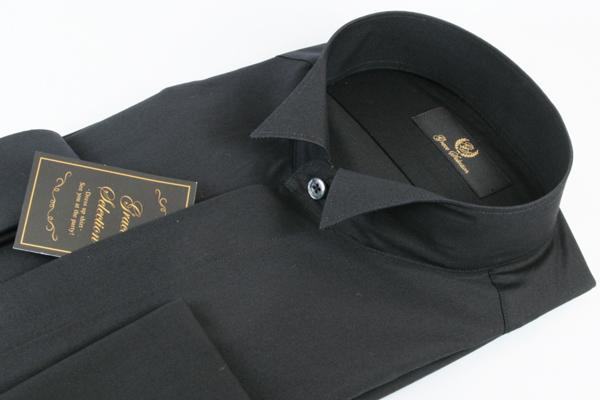 ウイングカラーシャツ 黒 ブラック 綿100% フライフロント 比翼仕立て ダブルカフス カフスボタン付 カフス セット ウイングシャツ ワイシャツ フォーマル メンズ 紳士 男 男性用 結婚式 パーティ 二次会 衣裳 衣装 YRD100-185 送料無料