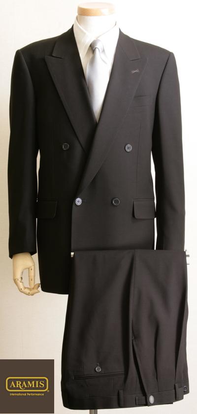 ARAMISピークラペル4釦ダブルフォーマルスーツは日本製生地を使用した高品質、こだわりの本格仕様に徹した高級礼服ですR55000オールシーズン対応【送料無料】