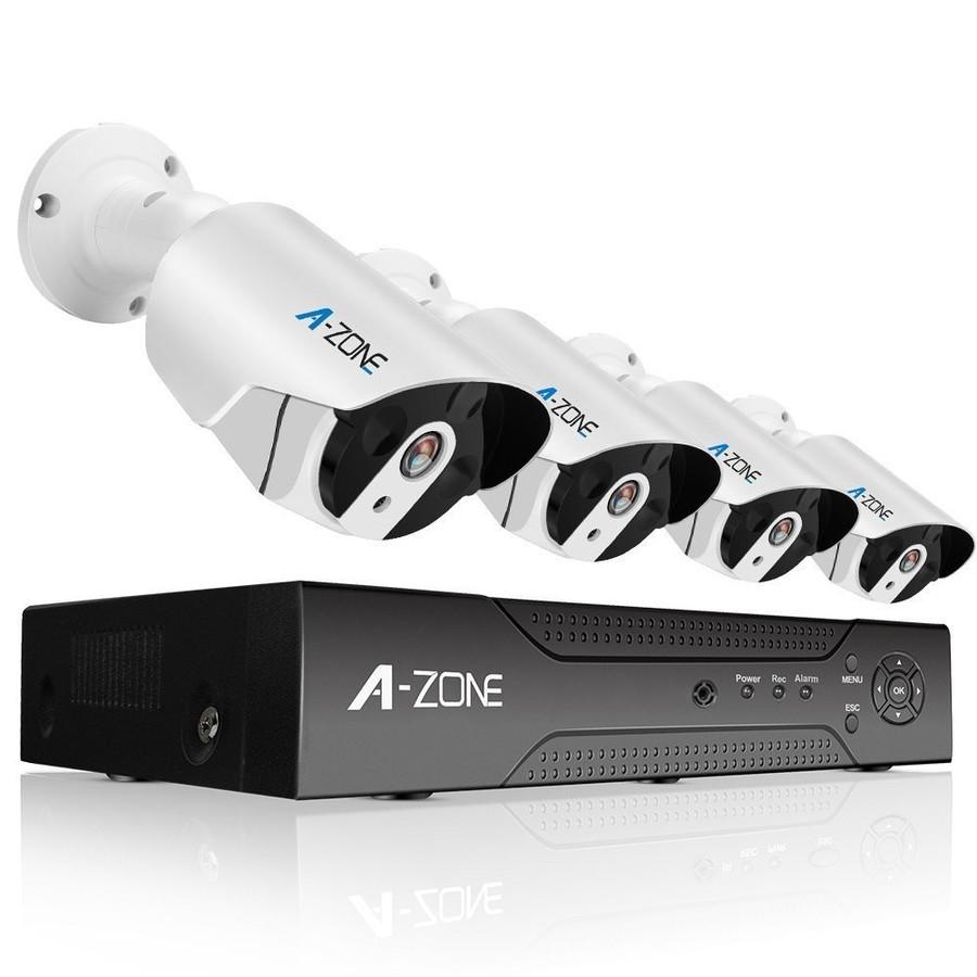 防犯カメラ A-ZONE 200万画素POEカメラ×4台 4ch録画チューナー(HDD 2000GB内蔵)セット ビデオ監視システム セキュリティカメラ 室内 室外 屋外