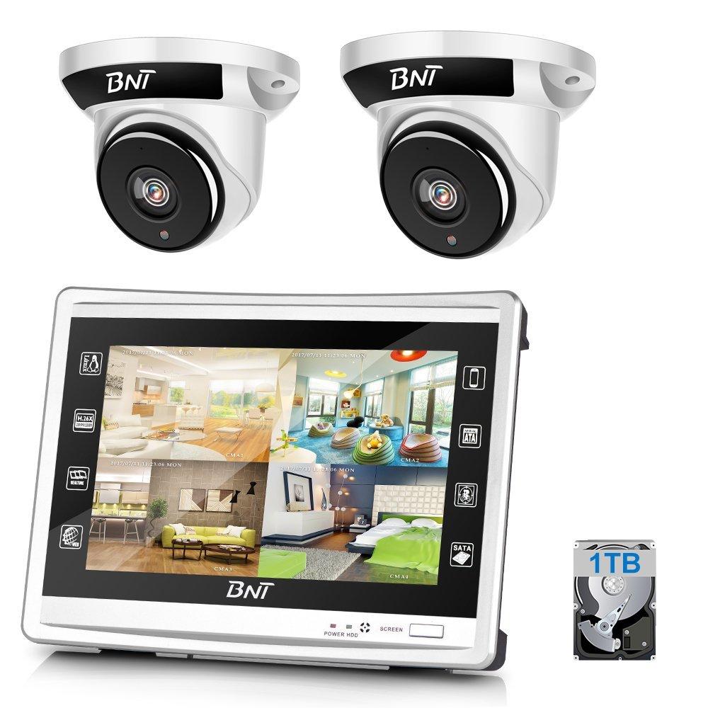防犯カメラ BNT 200万画素カメラ×2台 4chチューナーセット  モニター付き(1TB) セキュリティカメラ 室内 室外 屋外