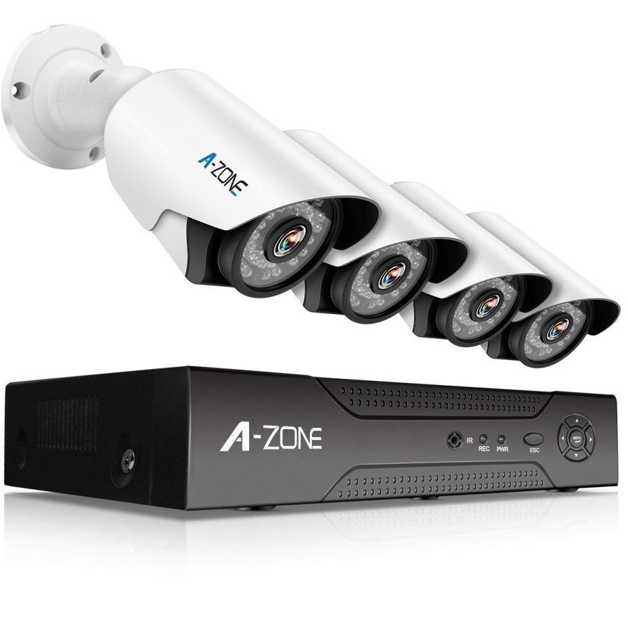 防犯カメラ A-ZONE 500万画素カメラ×4台 4ch録画チューナー(2TB HDD付き)セット  ビデオ監視システム セキュリティカメラ 室内 室外 屋外