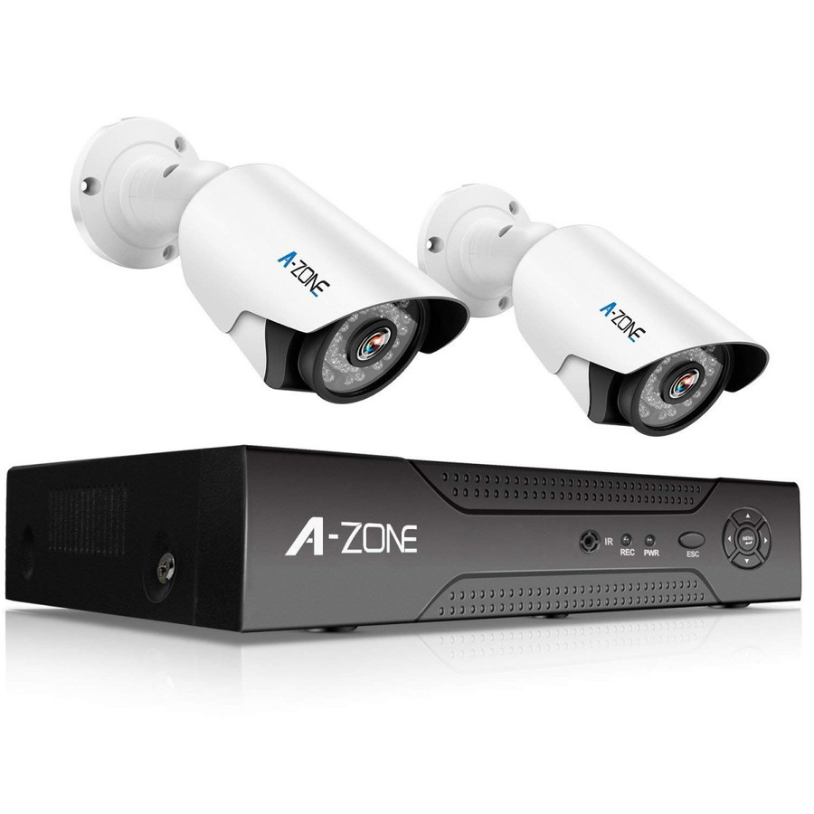 防犯カメラ A-ZONE 500万画素カメラ×2台 4ch録画チューナー(2TB HDD付き)セット  ビデオ監視システム セキュリティカメラ 室内 室外 屋外