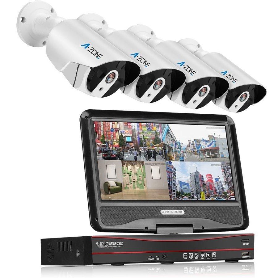 A-ZONE 200万画素タイプ POE給電カメラ4台 10.1インチモニター付  監視カメラ 防水カメラ 屋内 屋外 遠隔監視対応 (ハードディスク無し)