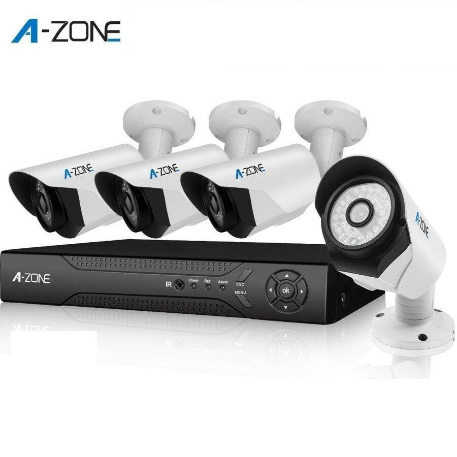防犯カメラ A-ZONE 130万画素カメラ×4台 4chチューナーセット  ビデオ監視システム セキュリティカメラ 室内 室外 屋外
