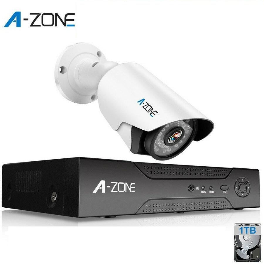 防犯カメラ A-ZONE 200万画素カメラ×1台 4ch録画チューナー(1TB HDD付き)セット  ビデオ監視システム セキュリティカメラ 室内 室外 屋外