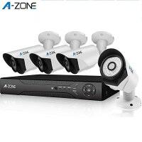 防犯カメラ A-ZONE 200万画素カメラ×4台 4ch録画チューナー(2TB HDD付き)セット  ビデオ監視システム セキュリティカメラ 室内 室外 屋外