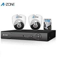 防犯カメラ A-ZONE 200万画素カメラ×2台 4ch録画チューナー(1TB HDD付き)セット  ビデオ監視システム セキュリティカメラ 室内 室外