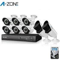 防犯カメラ A-ZONE 130万画素カメラ×8台 8ch録画チューナー(2TB HDD付き)セット  ビデオ監視システム セキュリティカメラ 屋外 室内 室外