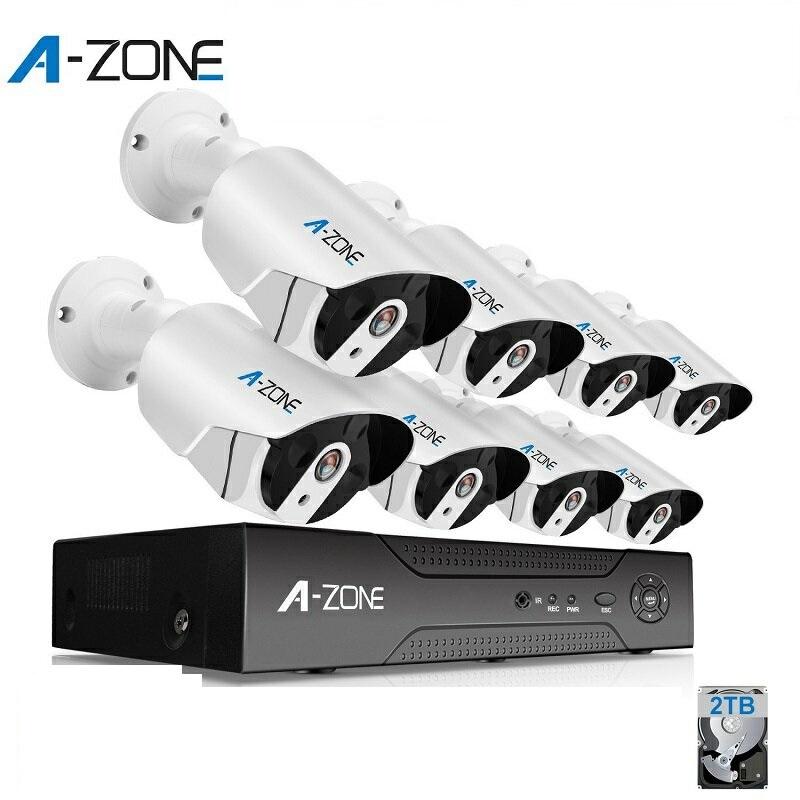 防犯カメラ A-ZONE 200万画素POEカメラ×8台 8ch録画チューナー(HDD 2000GB内蔵)セット ビデオ監視システム セキュリティカメラ 室内 室外 屋外