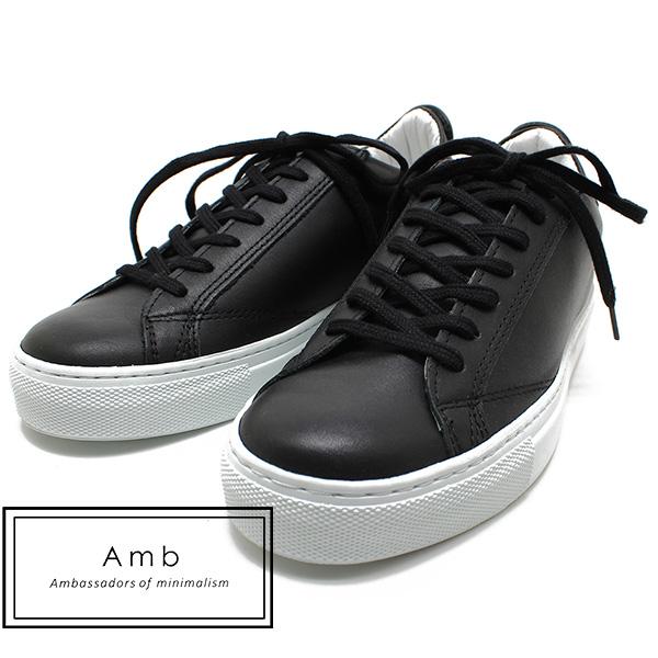 Amb Ambassadors of minimalism/アンバサダーズオブミニマリズム9838 レースアップスニーカー ブラック レディース/レザー/スニーカー/ポルトガル製