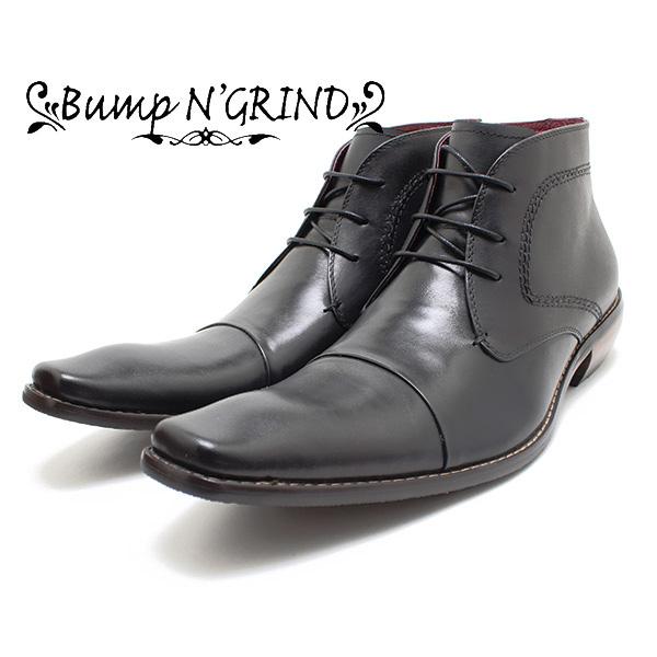 Bump N' GRIND/バンプアンドグラインド 2803 ストレートチップブーツ ブラック 本革ビジネスシューズ/ビジネスブーツ/トラッド/紐靴/革靴/仕事用/メンズ