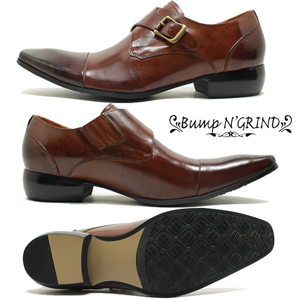 Bump N ' GRIND and bump and grab India 6032 Strait chip monk strap leather business  shoes camel brown leather squat / cisertu / dress / slip-on / shoes ...