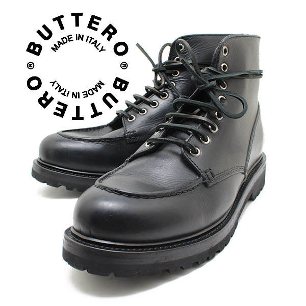 BUTTERO / buttero 日本真正 Vibram 鞋底,mokacintu,花边靴意大利制造的 PE 托施 01 尼禄 (黑皮革) B3802 / 侧戈尔靴 / 踝长度皮革 / 男士 / 男式皮革 /