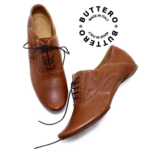 BUTTERO / buttero B610 日本 AE 花边鞋 CUOIO (皮革棕色) 意大利制造 / 巴拜奇 / 吊带鞋 / 妇女 / pettanko / 皮革 /