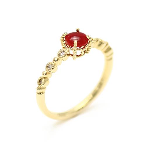 レッドコーラル/赤サンゴ ラウンドカボションカット K18 0.06ctダイヤモンドリング(血赤珊瑚) 血赤/赤珊瑚/高知・土佐沖/レディース/リング/指輪/ダイヤ