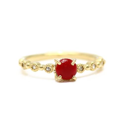 reddokoraru/紅sangoraundokaboshonkatto K18 0.06ct鑽石戒指(血紅珊瑚)血紅/紅珊瑚/高知、土佐海上/女士/環/戒指/列車時間表
