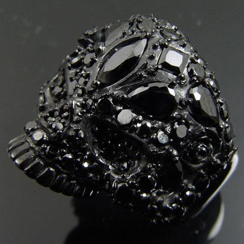KENBLOOD/ケンブラッド 90ピースCZセット ラグジュアリースカルリング ブラック 【KR-204】【髑髏】【メンズ レディース・ユニセックスモデル】