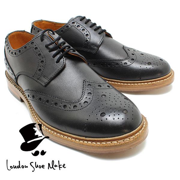 London Shoe Make/Oxford & Derby 601 グッドイヤー製法ウィングチップシューズ ブラック カジュアルシューズ ビジネス/ドレス/紐靴/革靴/仕事用/メンズ