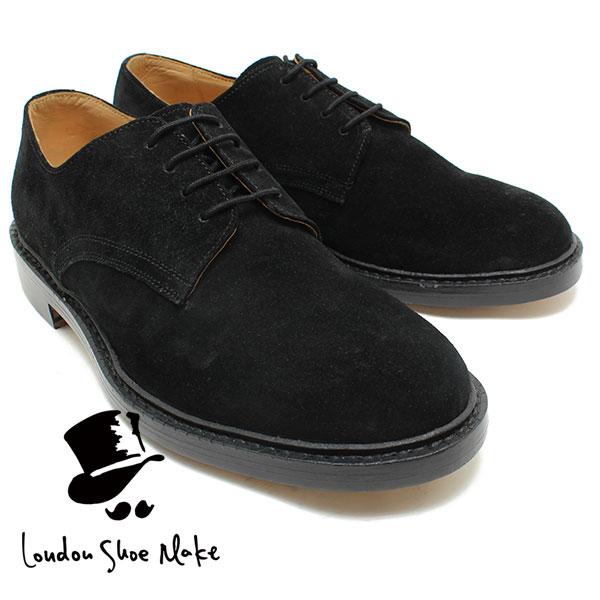 London Shoe Make/Oxford & Derby 605 グッドイヤー製法スウェード外羽根プレーントゥ ブラック カジュアルブーツ ビジネス/ドレス/紐靴/革靴/仕事用/メンズ