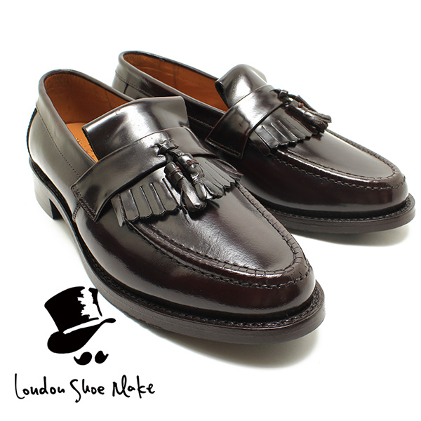 men for the London Shoe MakeOxford & Derby 8010 Goodyear ribbon tassel loafer dark brown genuine leather business shoes business dress string
