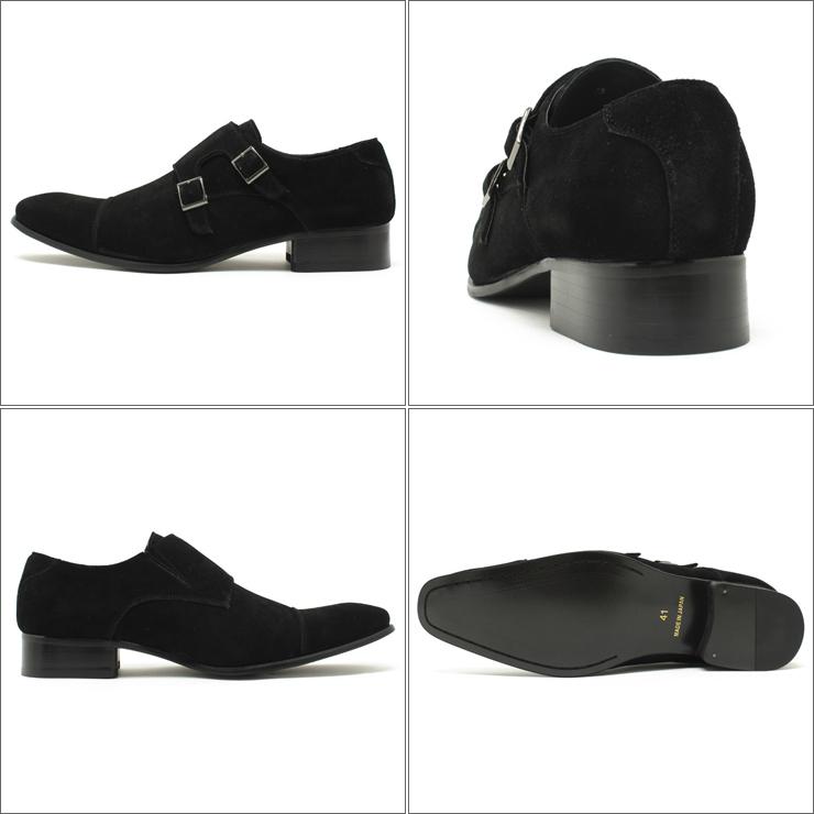 薩拉班德 / 薩拉班德 7773 日本皮革禮服鞋長長的鼻子、 雙僧侶錶帶黑色絨面皮革滑 / 鞋子 / cisertu / 業務 / 工作裝訂 / 男裝 / 大大小 28.0 釐米到 / 王 / 5%的折扣出售