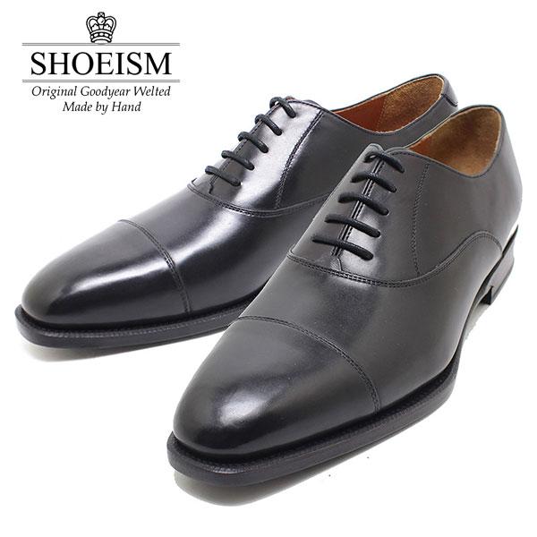 SHOEISM シューイズム 303 内羽ストレートチップ レザーソール BLACK ビジネス/ドレス/紐靴/革靴/メンズ