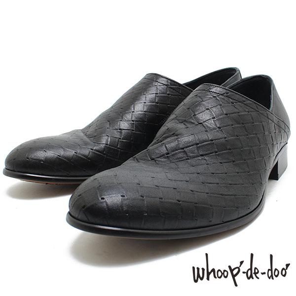フープディドゥ whoop-de-doo 105704 メッシュ型押しスリッポン ブラック 本革ブーツ ブーツ/革靴/メンズ whoop'-de-doo'