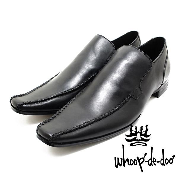 在庫一掃 ■送料無料■防水スプレープレゼント■ フープディドゥ whoop-de-doo 304844 スワローモカクロスステッチヴァンプ ブラック 新作アイテム毎日更新 本革ビジネスシューズ 仕事用 革靴 ドレス whoop'-de-doo' 紐靴 メンズ ビジネス