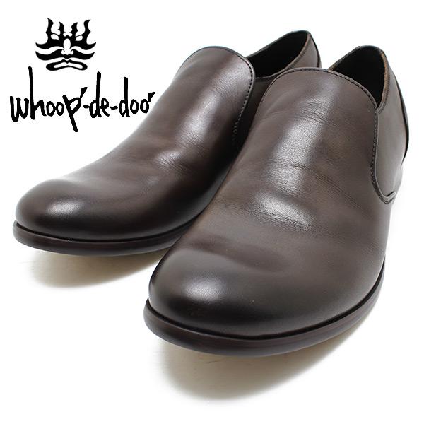 フープディドゥ whoop-de-doo 306753 スリッポンシューズ ダークブラウン 一枚甲革シューズ ビジネス/ドレス/紐靴/革靴/仕事用/メンズ whoop'-de-doo'