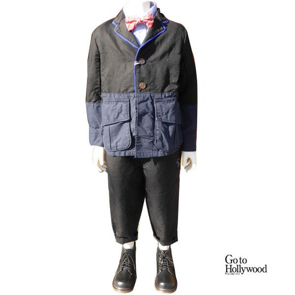 【SALE 50%OFF】GO TO HOLLYWOOD(ゴートゥハリウッド)フレンチツイル ドッキング ジャケット & タック ユルリ パンツ (130-140) 入学 卒業式 子供服 男の子 フォーマルスーツ 男の子
